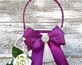 Ivory Flower Girl Basket, Wedding Basket, Eggplant Purple Flower Girl Basket