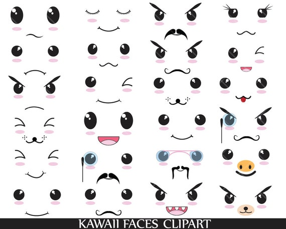30 PNG Filles- Kawaii faces clip art--Digital Clip Art Graphics ...