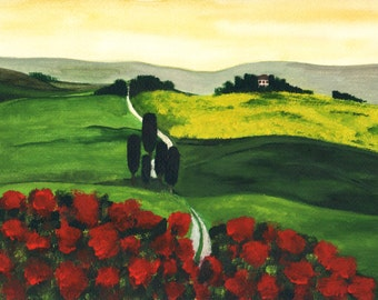 Summer in Tuscany. Good quality print of original painting, 12x16 inches.