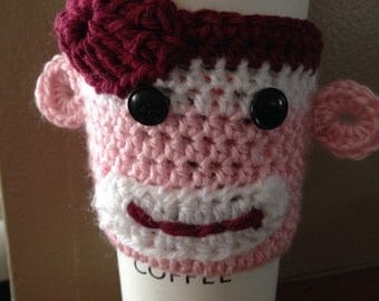 Sock Monkey Cup Cozy (Pink)