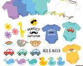 Baby Boy Bodysuits Digital Clipart, Baby Tees Clipart