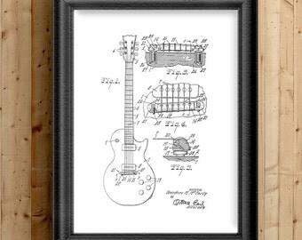 Music Room Art, Music Studio Decor, Vintage Guitar, Les Paul, Patent Printable, Vintage Gibson Guitar, Wall Decor, Home Decor