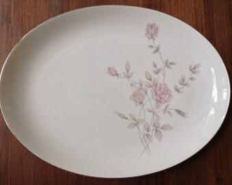 """Vintage Saji 16"""" Porcelain Platter HPT'd w Roses  Fine China made in Japan"""