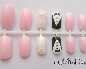 Bride and Groom hand painted wedding false nail set of 12