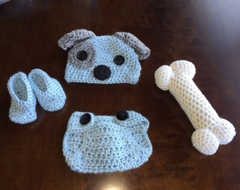 Puppy Dog for Baby Boy Gift Set-Crochet Puppy Hat-Blue Baby Booties-Baby Boy Diaper Cover-Puppy Dog Hat for Baby-Newborn Photo Prop