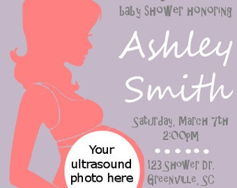 Printable baby girl ultrasound baby shower invitation