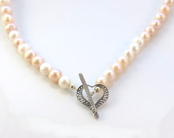 Blush Pink Pearl Heart Necklace, Pearl Choker, Freshwater Pearl Necklace, Blush Pink and Sterling Silver, Bridal Wedding Jewelry
