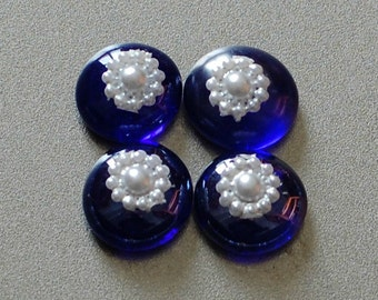 Cobalt Blue Glass Strong Magnet with White Flowers! Set of 4!