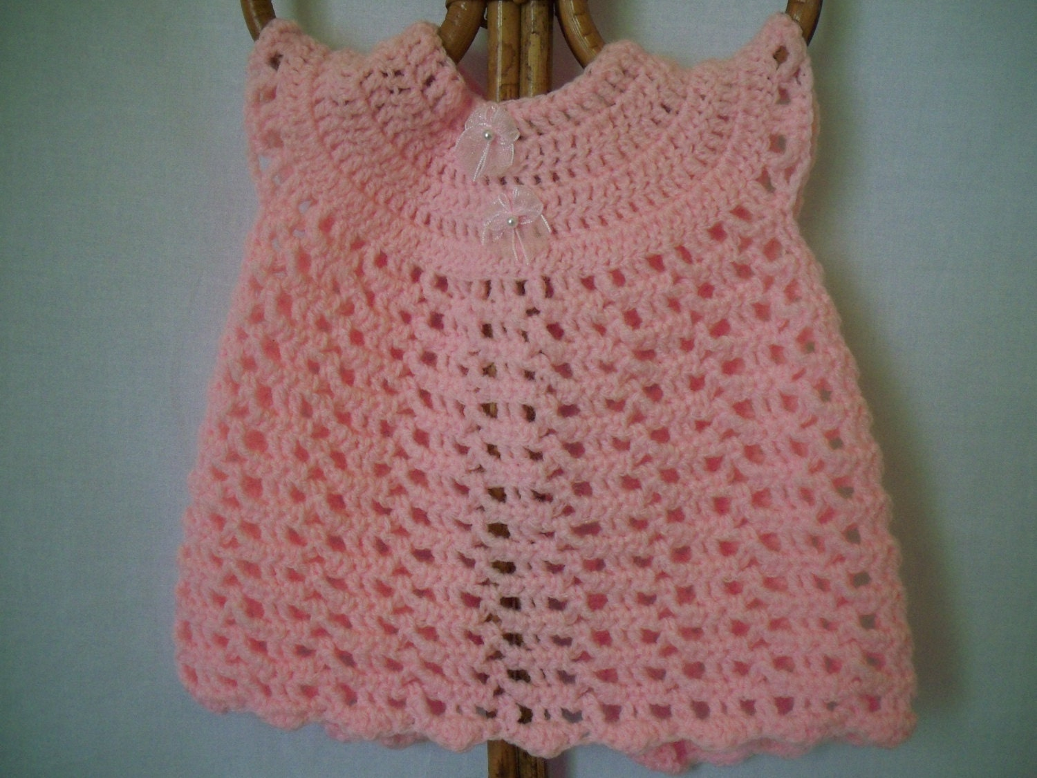 Crochet pink preemie baby or doll dress by