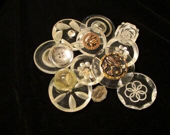 Vintage Plastic Buttons - Lot of 13