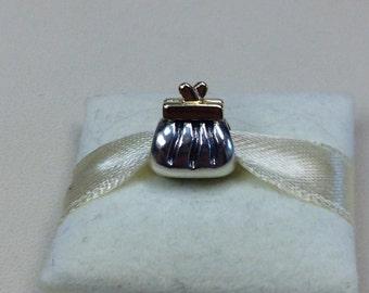Authentic Pandora Two-Tone Clutch Purse Charm #790475