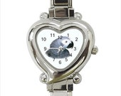 African Grey Parrot Bird Ladies Women's Heart Italian Watch