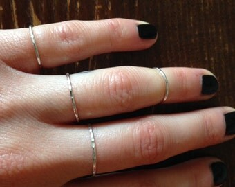 Set of 4 Hammered Sterling Silver Rings
