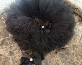 Newborn Black TuTu And Headband Set / Baby Photo Prop / Infant TuTu / Baby Shower Gift