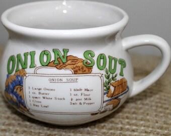 Retro Onion Soup Recipe Bowl Mug Cup (part of a set)