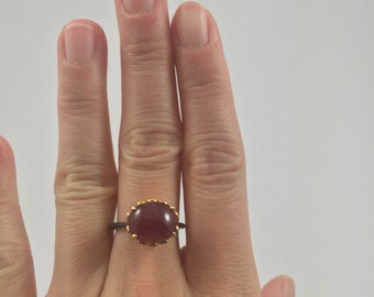 New GORGEOUS 7.93 ct Ruby on 18K Yellow Gold and Black Rhodium over Sterling Silver Ring size 6.5