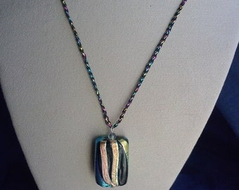Black/multicolored rectangular pendant