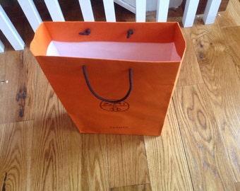 "Vintage authentic Orange Hermes shopping bag 17"" x 10.75 x 3.75"""