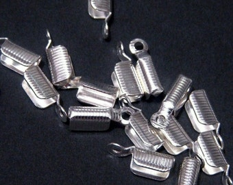 Cord tip, silver cord end, Fold Over cord end, silver finished brass, 8x3.5mm, 20 each, D228