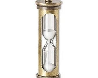 Hourglass Pendant, Hourglass Charm, Steampunk Charm,  Brass charm, 47x14mm, 1 each, D607
