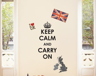 Decowall, DW-1309, Keep Calm and Carry On with Union Jack Wall