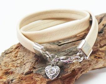 Cream/beige soft leather women's wrap bracelet with heart charm