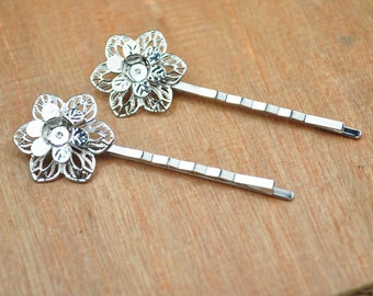Metal Hair pin,hair clips,20pcs Silver bobby pins two layer filigree flower 55MM,Hairpin with 22MM Pad.