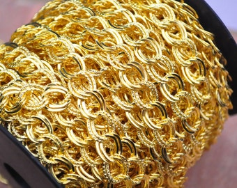 Double twist flat Wide gold chain,Large Gold Chain, Double Link Chain, Double Gold Chain, Jewelry Supplies--9x10mm