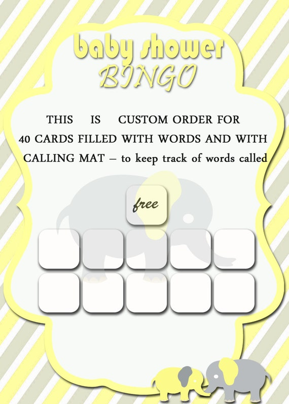 This is a picture of Clean 40 Free Printable Baby Shower Bingo Cards