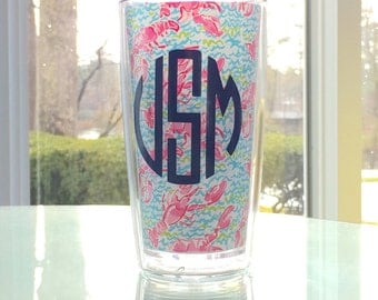 Monogrammed Lilly Pulitzer Tumbler - Lilly Pulitzer tumbler - Lilly Pulitzer cup tumbler decal