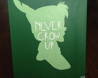 Peter Pan Green Silhouette Painting