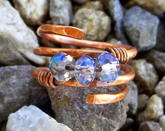 Hammered copper ring with Crystal beads