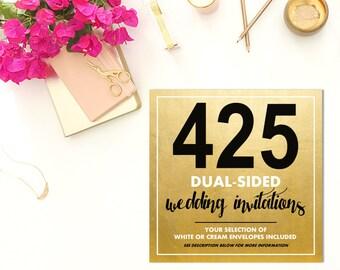 425 DUAL-SIDED Wedding Invitations w/Envelopes