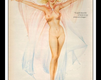 """Vargas Playboy Pinup Vintage August 1976 """"Describe It Better"""" Sexy Blonde Negligee Nude Mature Wall Art Deco Print"""