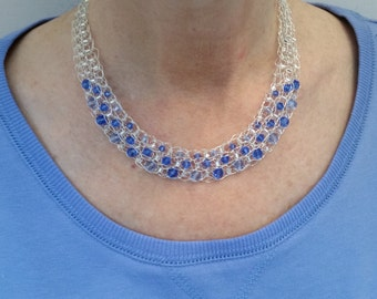Swarovski Crystal and Silver Crocheted Necklace