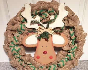 Reindeer burlap wreath