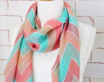 Mint Peach Coral Chevron Print Scarf, Fashion Scarf ,Chevron Scarf , Bridal Shower Gift,  SF-33