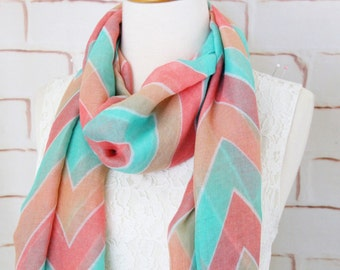 Mint Peach Coral Chevron Print Scarf, Fashion Scarf ,Chevron Scarf , Bridal Shower Gift,  SF-33