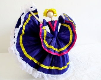 Mexican Corn husk dancer doll