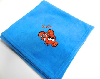 PERSONALISED NEMO BLANKET - beautifully embroidered - any name / short message