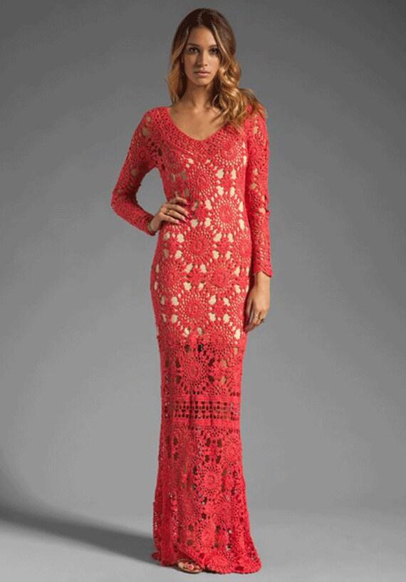 Длинное белое платье крючком - Страна Мам. показать опорную схему рыб. Длинное вязаное платье Вязание крючком и