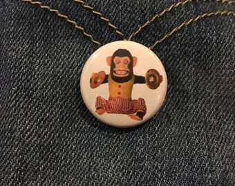 Clapping Cymbal Monkey 1-Inch Button (Set of 2)