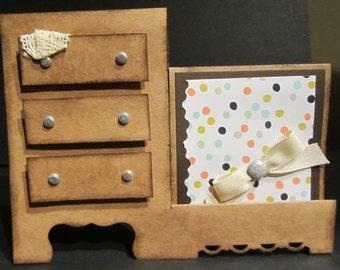 Handmade Get Well Card Vintage Old Fashioned Dresser