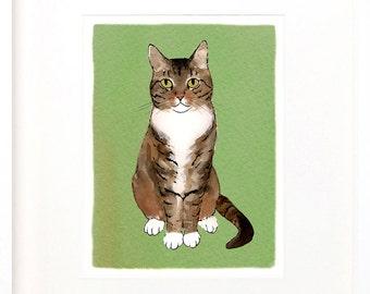 tabby print, tabby cat illustration, tabby drawing, digital print of tabby, digital download tabby, painting of tabby, drawing of tabby cat