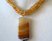 Creamy Golden agate chunky seed bead choker necklace