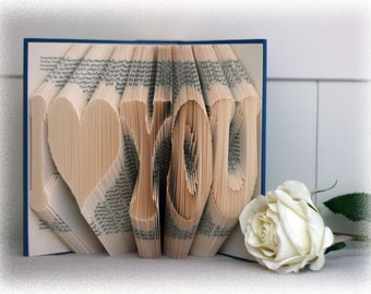 "Book Folding Pattern ""I (Heart) You"" + FREE Tutorial"