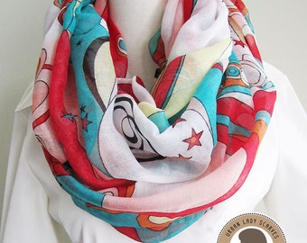 Fantasy Muticolor scarf, Soft, Lightweight, Loop Scarf, Infinity Scarf for Spring and Fall