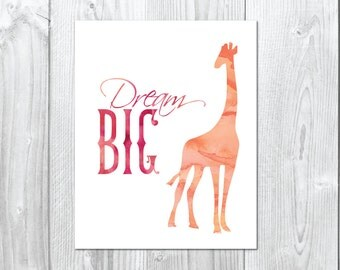Watercolour Dream Big Giraffe -  Wall/Art Print A5, 20x25cm, A3
