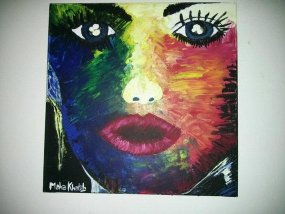 peinture pop art visage de femme couleur flash par khatibart