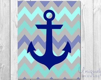 Anchor Print- Nursery Art- Baby shower gift- Baby boy - Baby girl- Toddlers Room- Nursery Decor- Printable Art- Download